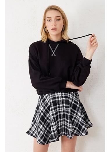 EKA Kapişonlu Bağcıklı Uzun Kol Sweatshirt Siyah